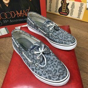 Sperry black gray silver leopard print boat shoe 7